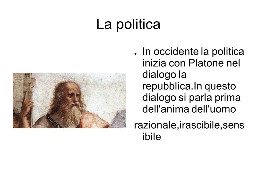 La politica ● In occidente la politica inizia con Platone nel dialogo la repubblica.In questo dialogo si parla prima dell anima dell uomo razionale,irascibile,sens ibile