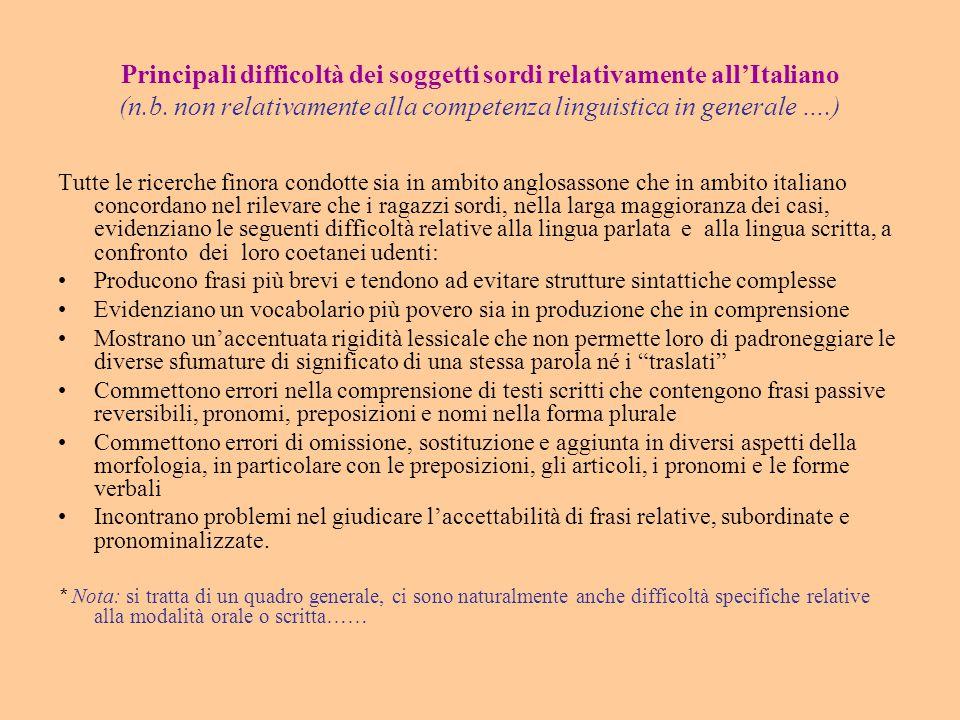 Principali difficoltà dei soggetti sordi relativamente all'Italiano (n.b. non relativamente alla competenza linguistica in generale ….) Tutte le ricer