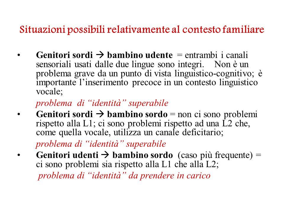 Situazioni possibili relativamente al contesto familiare Genitori sordi  bambino udente = entrambi i canali sensoriali usati dalle due lingue sono in