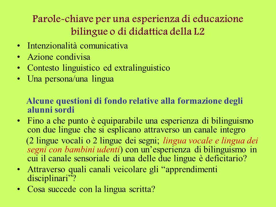 Parole-chiave per una esperienza di educazione bilingue o di didattica della L2 Intenzionalità comunicativa Azione condivisa Contesto linguistico ed e