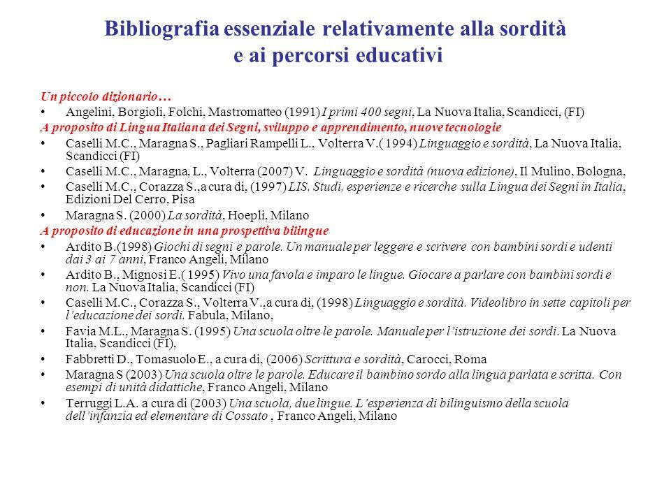 Bibliografia essenziale relativamente alla sordità e ai percorsi educativi Un piccolo dizionario… Angelini, Borgioli, Folchi, Mastromatteo (1991) I pr