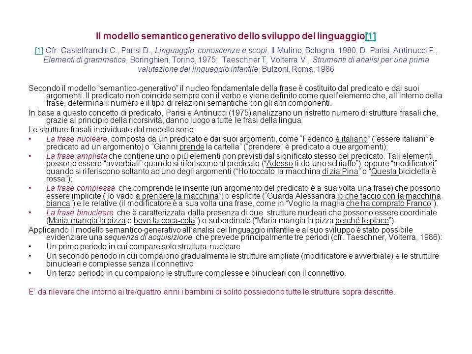 Il modello semantico generativo dello sviluppo del linguaggio[1] [1] Cfr. Castelfranchi C., Parisi D., Linguaggio, conoscenze e scopi, Il Mulino, Bolo