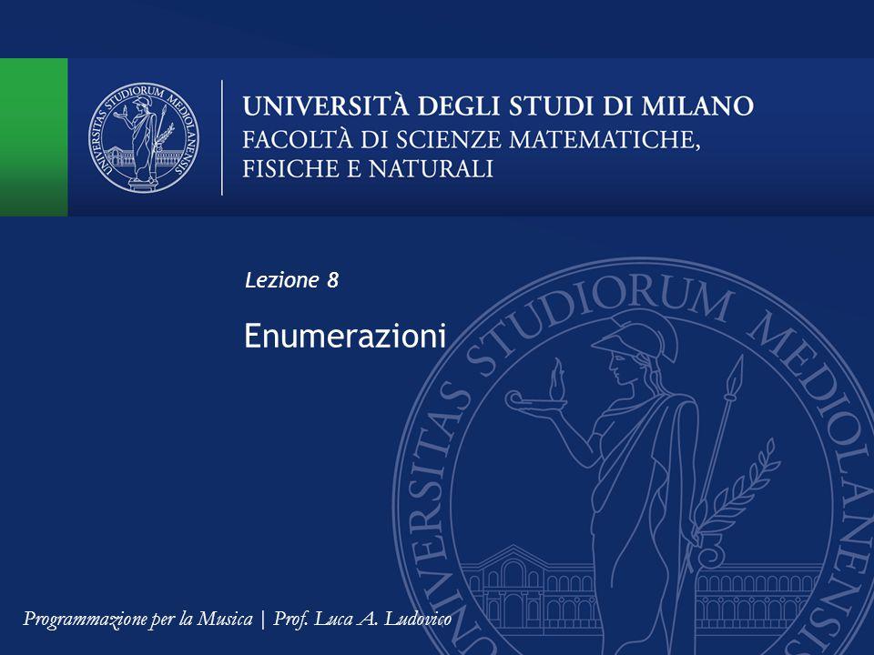 Enumerazioni Lezione 8 Programmazione per la Musica | Prof. Luca A. Ludovico