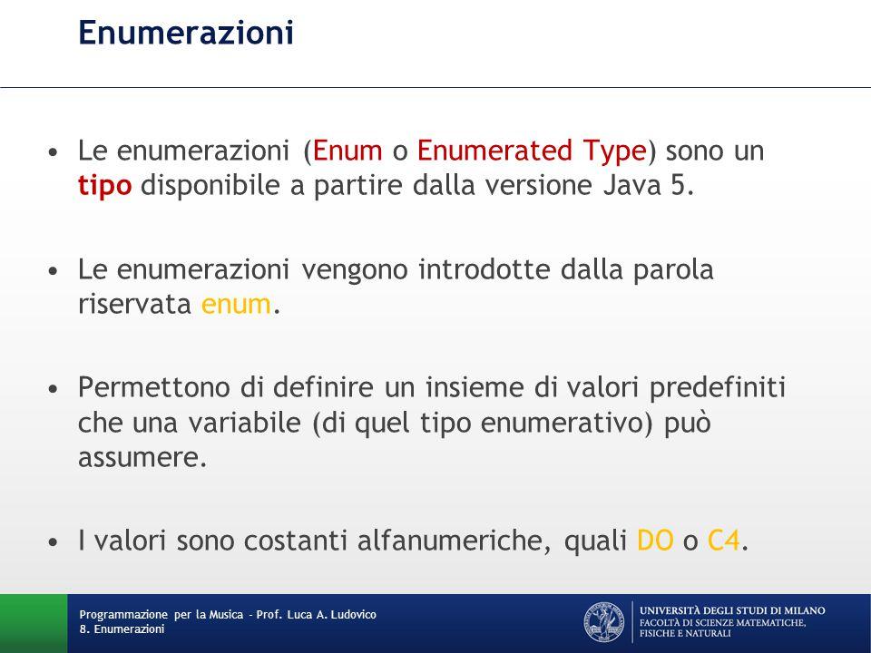 Enumerazioni Le enumerazioni (Enum o Enumerated Type) sono un tipo disponibile a partire dalla versione Java 5.