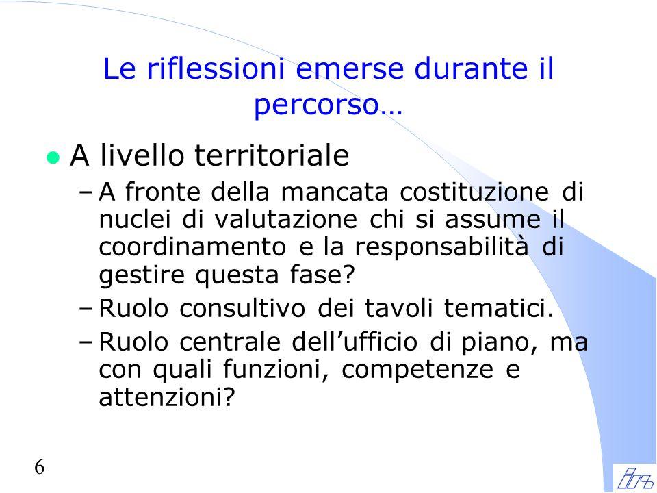 6 Le riflessioni emerse durante il percorso… l A livello territoriale –A fronte della mancata costituzione di nuclei di valutazione chi si assume il coordinamento e la responsabilità di gestire questa fase.