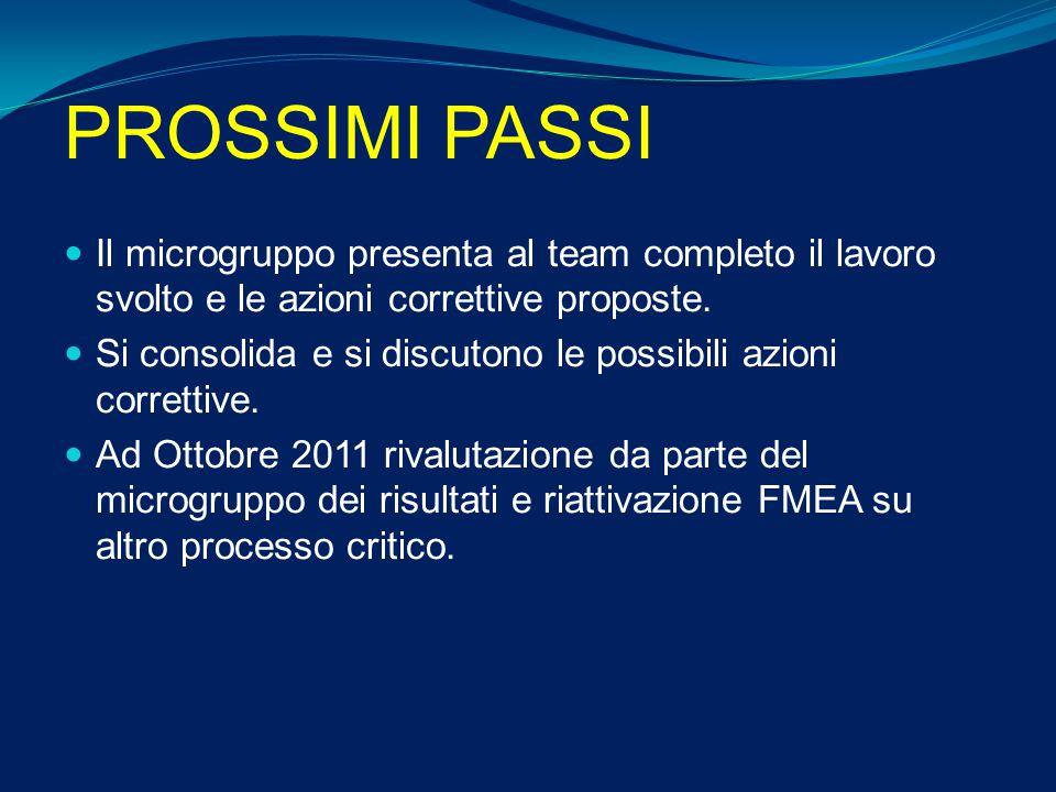 PROSSIMI PASSI Il microgruppo presenta al team completo il lavoro svolto e le azioni correttive proposte.