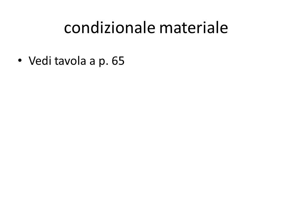condizionale materiale Vedi tavola a p. 65