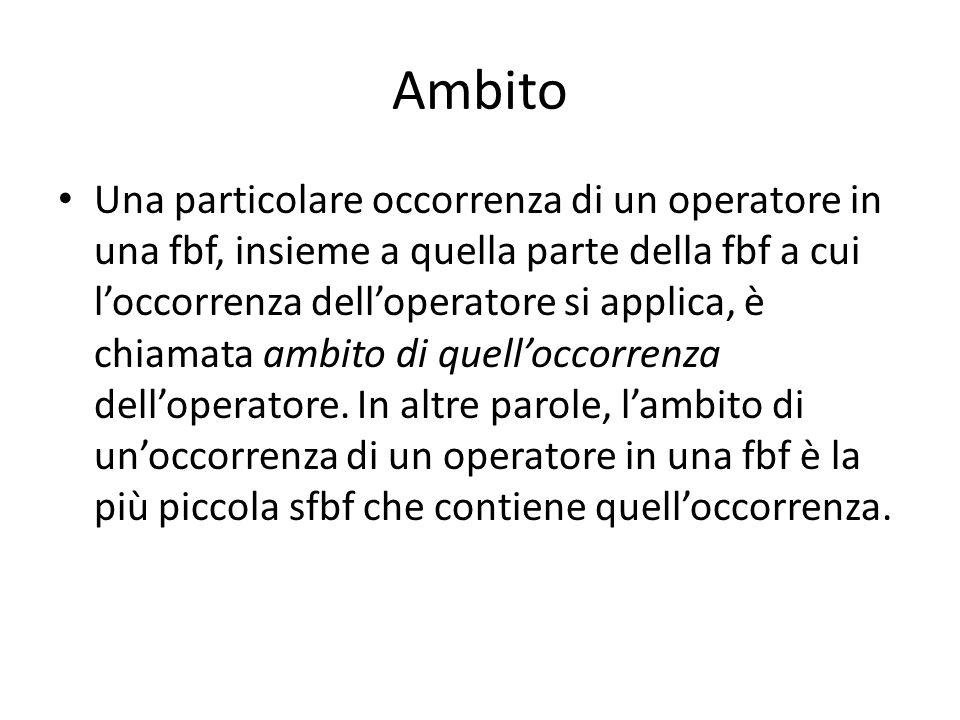 Ambito Una particolare occorrenza di un operatore in una fbf, insieme a quella parte della fbf a cui l'occorrenza dell'operatore si applica, è chiamata ambito di quell'occorrenza dell'operatore.