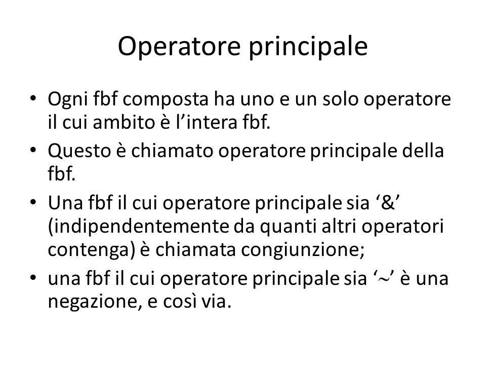 Operatore principale Ogni fbf composta ha uno e un solo operatore il cui ambito è l'intera fbf. Questo è chiamato operatore principale della fbf. Una