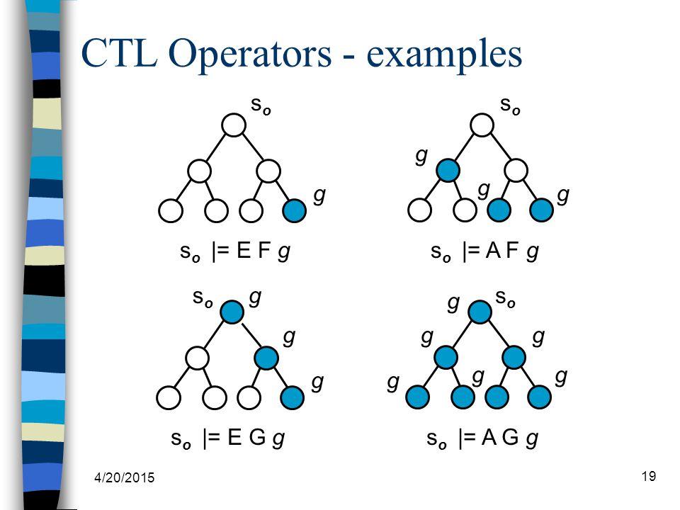 4/20/2015 19 CTL Operators - examples s o |= E F g g soso soso g g g s o |= A F g s o |= E G g gsoso g g s o |= A G g soso g g g g gg
