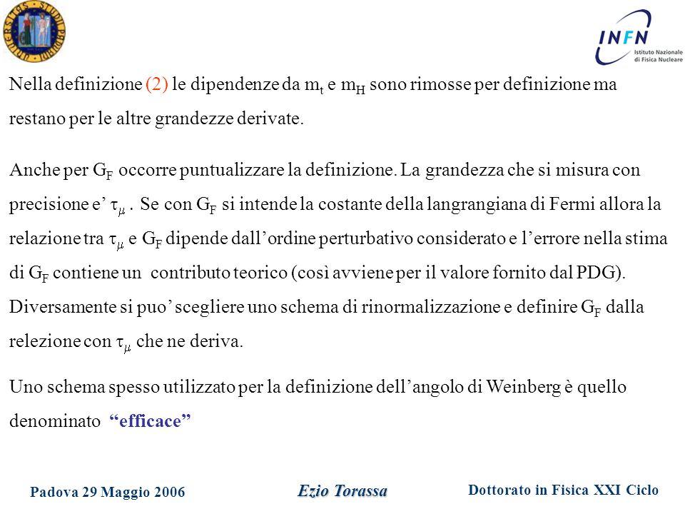 Dottorato in Fisica XXI Ciclo Padova 29 Maggio 2006 Ezio Torassa Nella definizione (2) le dipendenze da m t e m H sono rimosse per definizione ma rest