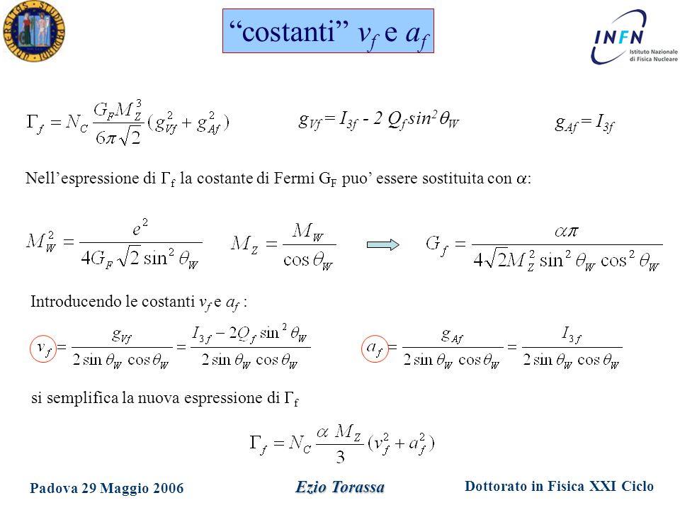 Dottorato in Fisica XXI Ciclo Padova 29 Maggio 2006 Ezio Torassa angolo di mixing elettrodebole: sin 2  eff =0.23150±.00016 P(  2 )=7% (10.5/5) 0.23113 ±.00020 leptoni 0.23213 ±.00029 hadroni e A l (SLD) –A fb b 2.9 