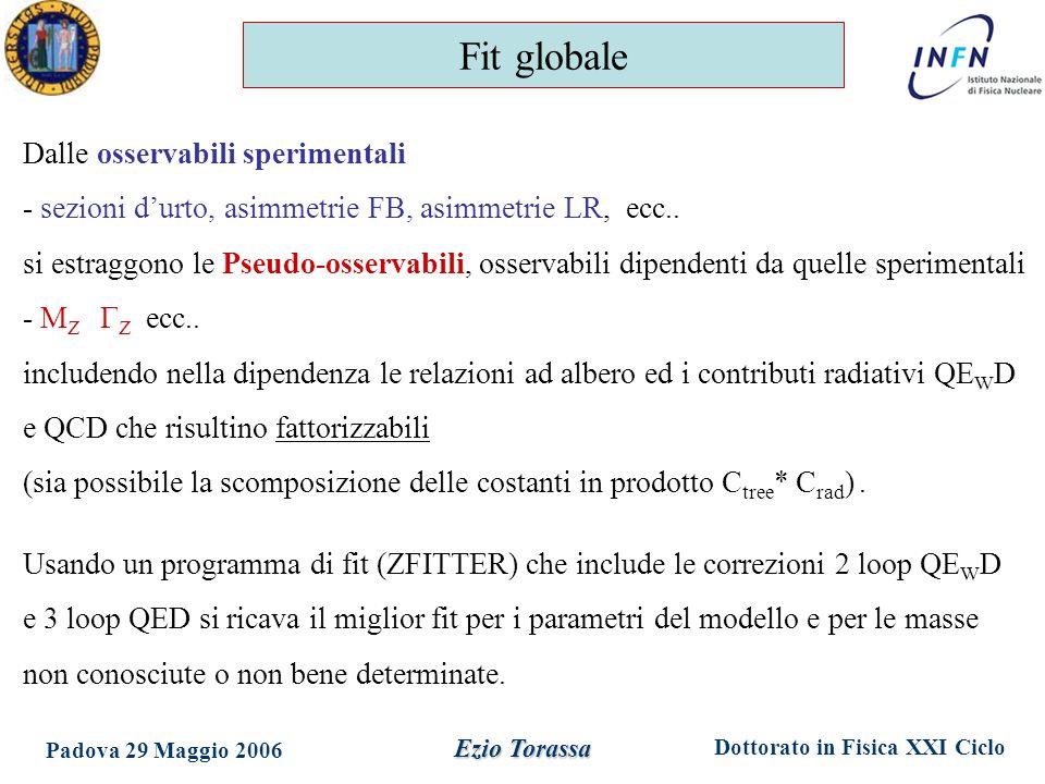 Dottorato in Fisica XXI Ciclo Padova 29 Maggio 2006 Ezio Torassa Dalle osservabili sperimentali - sezioni d'urto, asimmetrie FB, asimmetrie LR, ecc..