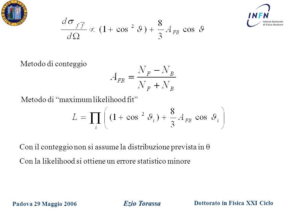 Dottorato in Fisica XXI Ciclo Padova 29 Maggio 2006 Ezio Torassa Si decidono I parametri che andranno inseriti nel fit M Z,  Z,  0 h, R l, A FB 0,lept Fit a 5 parametri ove si assume l'universalità leptonica M Z,  Z,  0 h, R e, R , R , A FB 0,e, A FB 0, , A FB 0,  Fit a 9 parametri ove i leptoni sono considerati indipendentemente