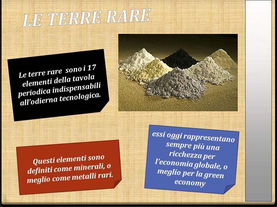 Le terre rare sono i 17 elementi della tavola periodica indispensabili all'odierna tecnologica. essi oggi rappresentano sempre più una ricchezza per l