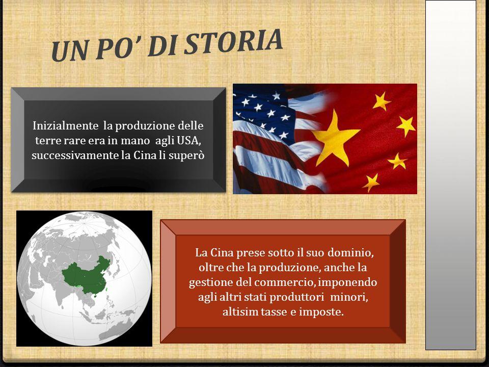 UN PO' DI STORIA Inizialmente la produzione delle terre rare era in mano agli USA, successivamente la Cina li superò La Cina prese sotto il suo domini