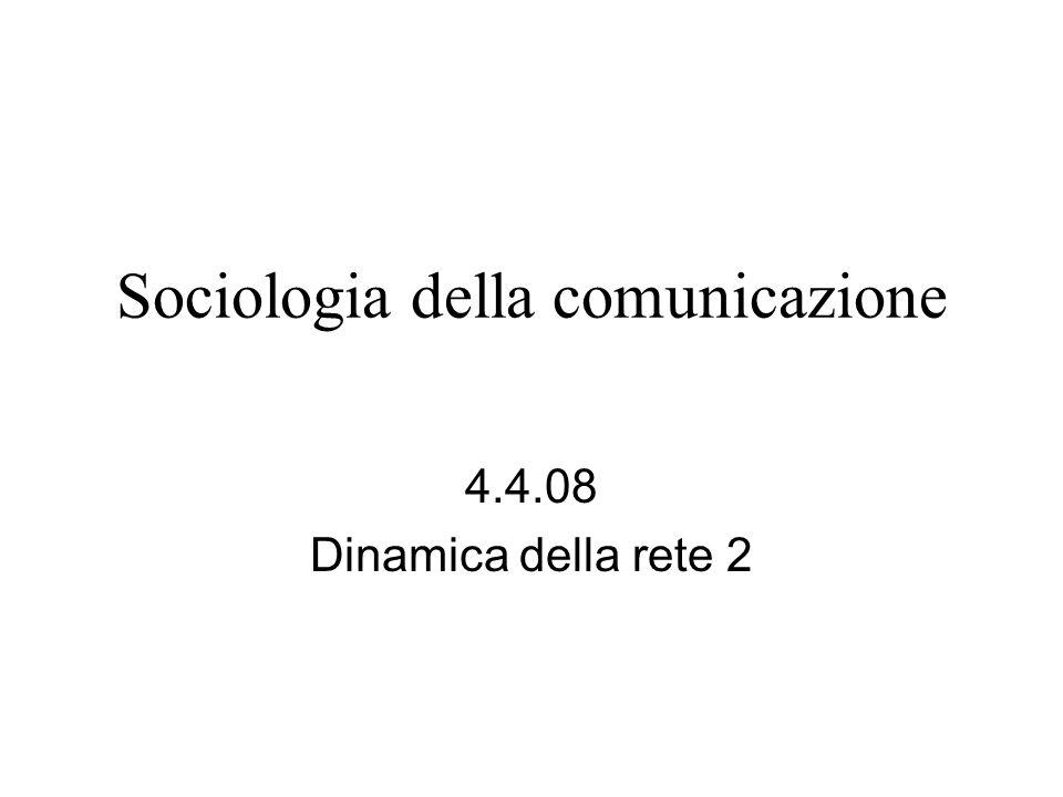 Sociologia della comunicazione 4.4.08 Dinamica della rete 2