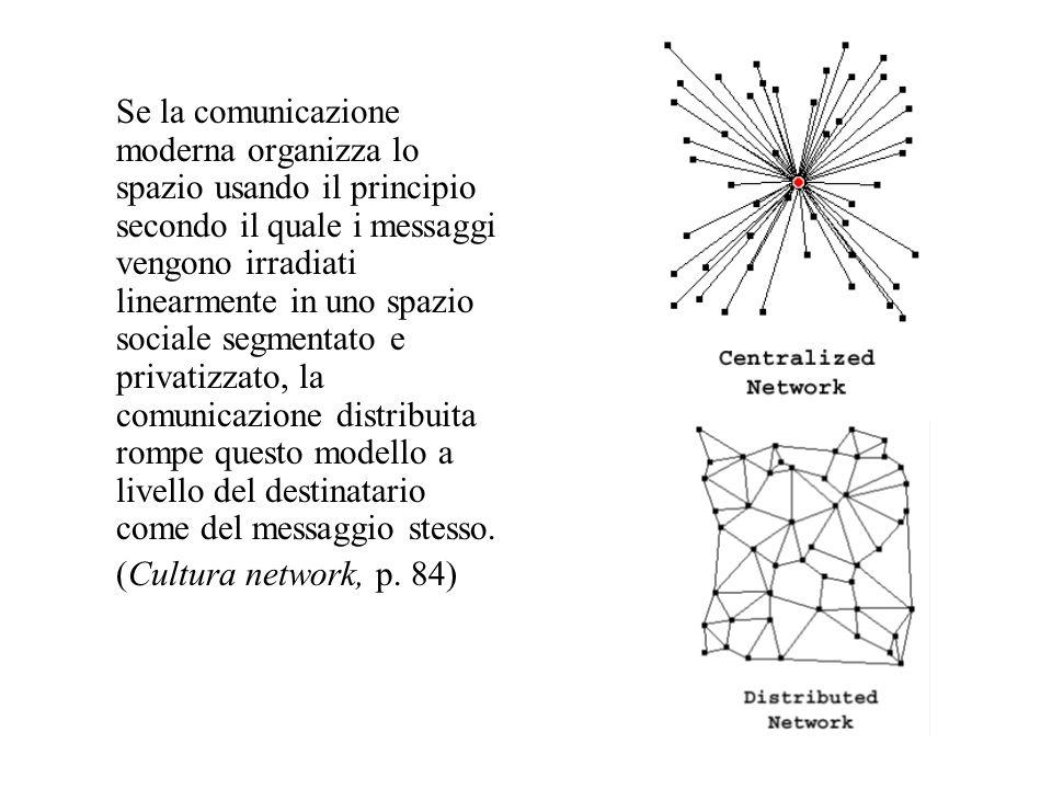 Se la comunicazione moderna organizza lo spazio usando il principio secondo il quale i messaggi vengono irradiati linearmente in uno spazio sociale segmentato e privatizzato, la comunicazione distribuita rompe questo modello a livello del destinatario come del messaggio stesso.