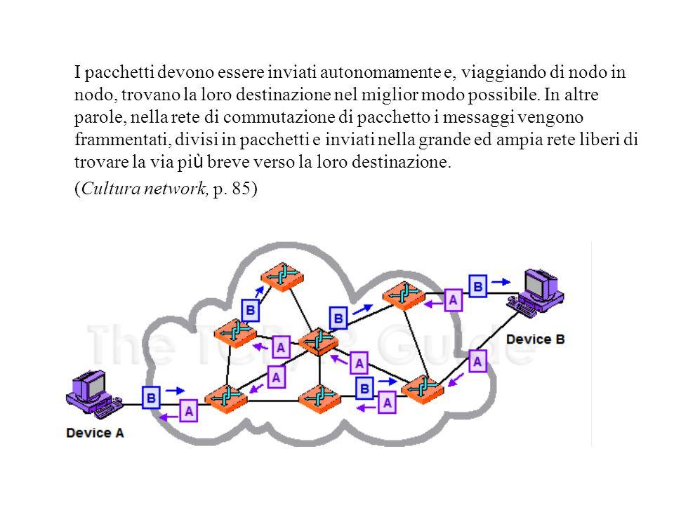 I pacchetti devono essere inviati autonomamente e, viaggiando di nodo in nodo, trovano la loro destinazione nel miglior modo possibile.