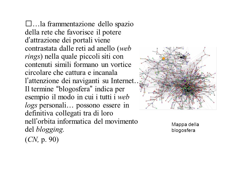 … la frammentazione dello spazio della rete che favorisce il potere d ' attrazione dei portali viene contrastata dalle reti ad anello (web rings) nella quale piccoli siti con contenuti simili formano un vortice circolare che cattura e incanala l ' attenzione dei naviganti su Internet … Il termine blogosfera indica per esempio il modo in cui i tutti i web logs personali … possono essere in definitiva collegati tra di loro nell ' orbita informatica del movimento del blogging.