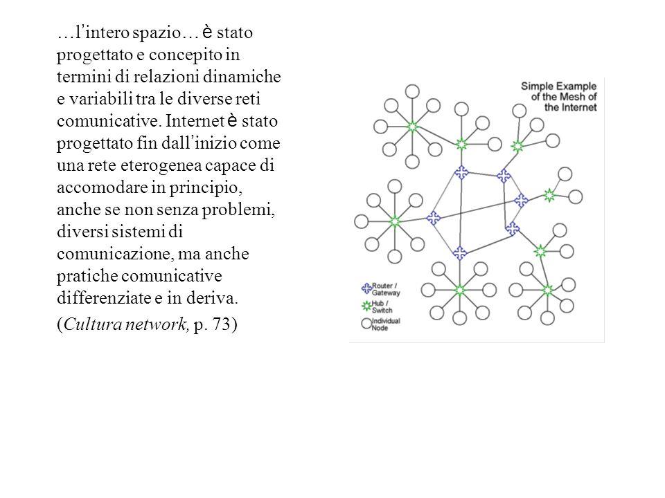 … l ' intero spazio … è stato progettato e concepito in termini di relazioni dinamiche e variabili tra le diverse reti comunicative.