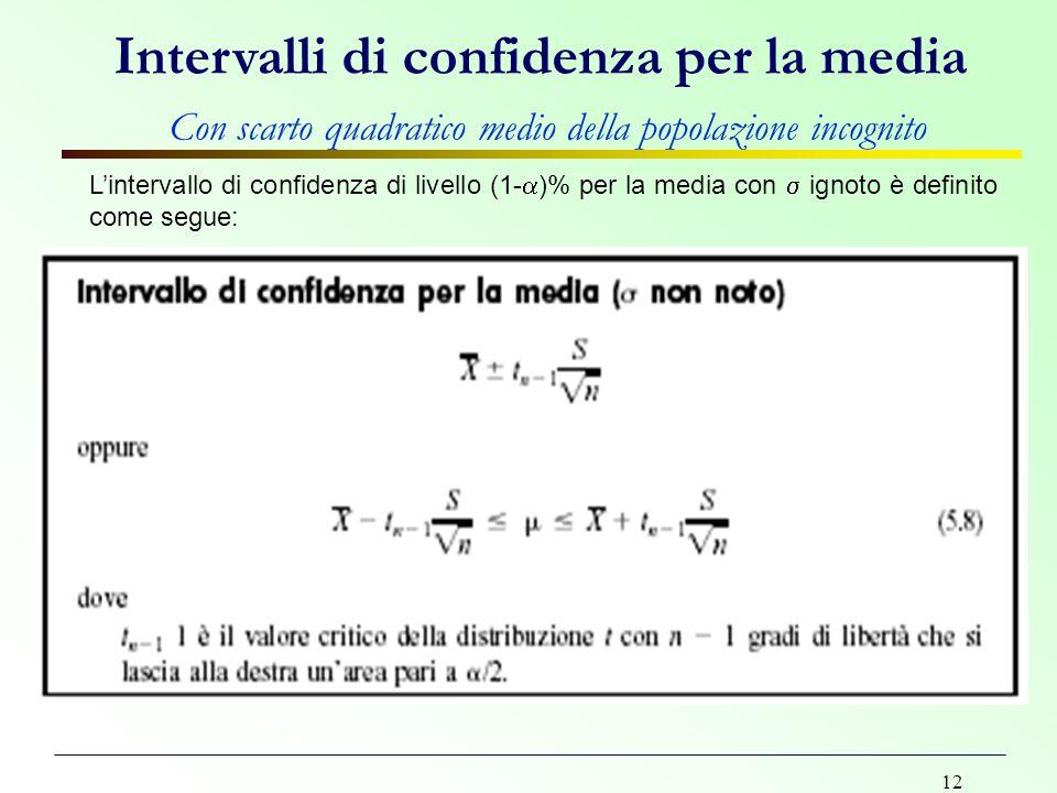 12 L'intervallo di confidenza di livello (1-  )% per la media con  ignoto è definito come segue: Intervalli di confidenza per la media Con scarto qu