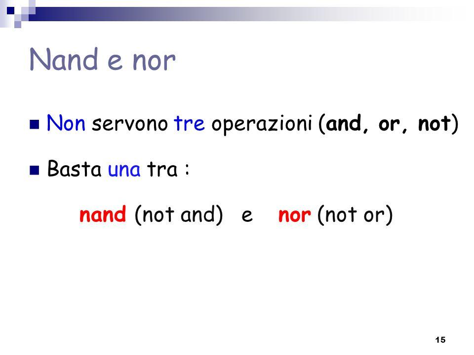 Nand e nor Non servono tre operazioni (and, or, not) Basta una tra : nand (not and) e nor (not or) 15