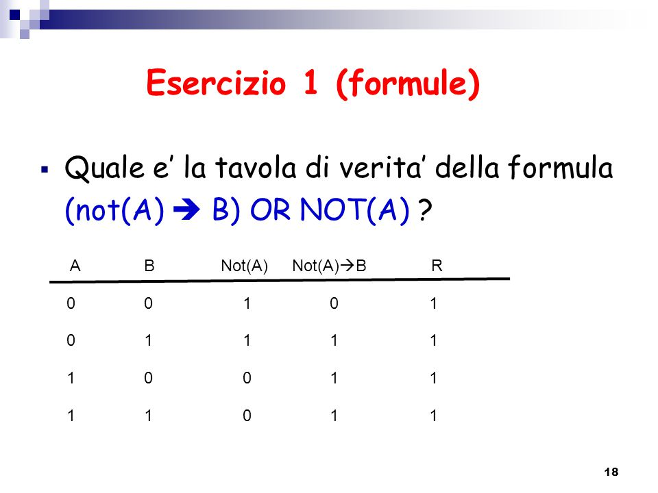 Esercizio 1 (formule)  Quale e' la tavola di verita' della formula (not(A)  B) OR NOT(A) ? 18 ABNot(A)R 0 0 1 1 0 1 0 1 1 1 0 0 1 1 1 1 Not(A)  B 0