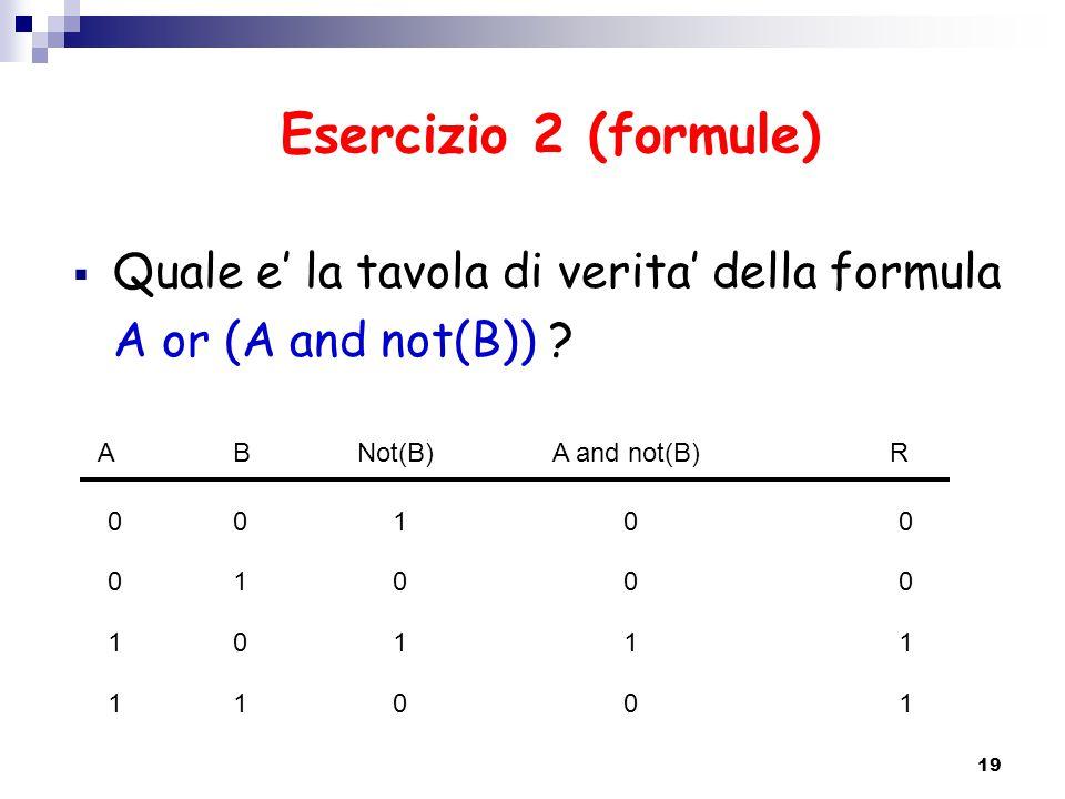 Esercizio 2 (formule)  Quale e' la tavola di verita' della formula A or (A and not(B)) ? 19 ABA and not(B)Not(B)R 0 0 1 1 0 1 0 1 1 0 1 0 0 0 1 0 0 0