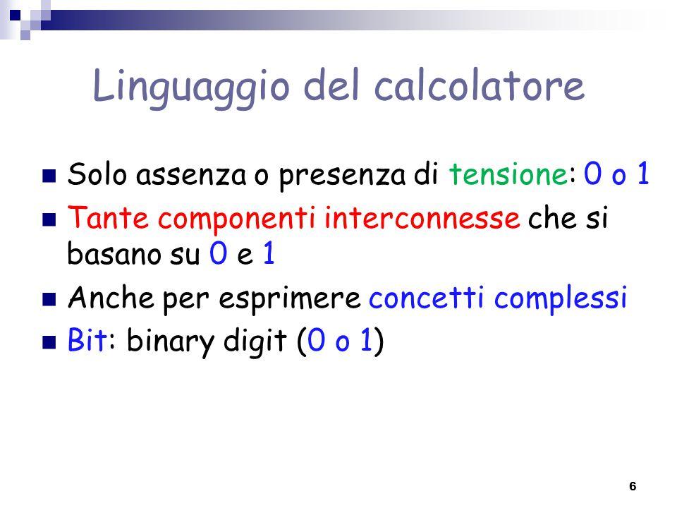 Linguaggio del calcolatore Solo assenza o presenza di tensione: 0 o 1 Tante componenti interconnesse che si basano su 0 e 1 Anche per esprimere concet