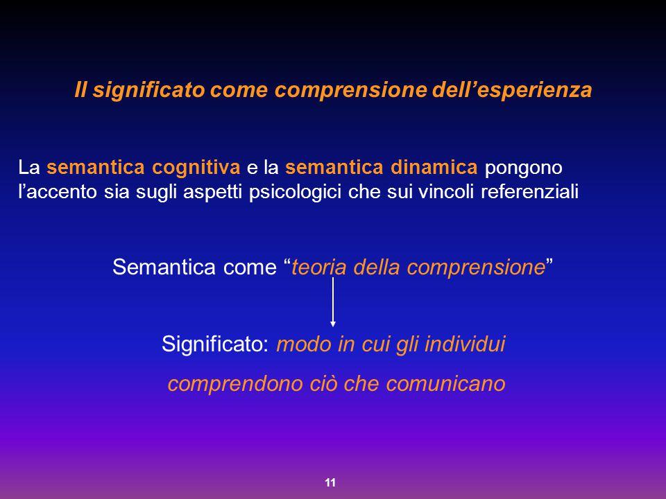 11 Il significato come comprensione dell'esperienza La semantica cognitiva e la semantica dinamica pongono l'accento sia sugli aspetti psicologici che
