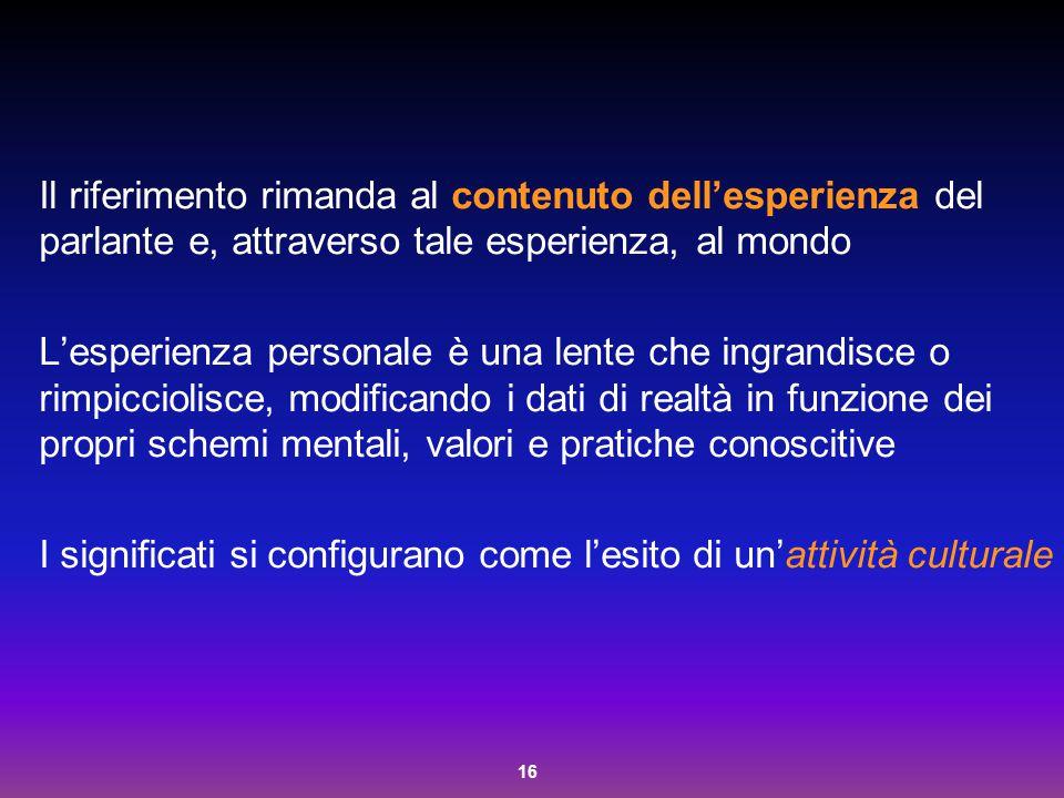 16 Il riferimento rimanda al contenuto dell'esperienza del parlante e, attraverso tale esperienza, al mondo L'esperienza personale è una lente che ing