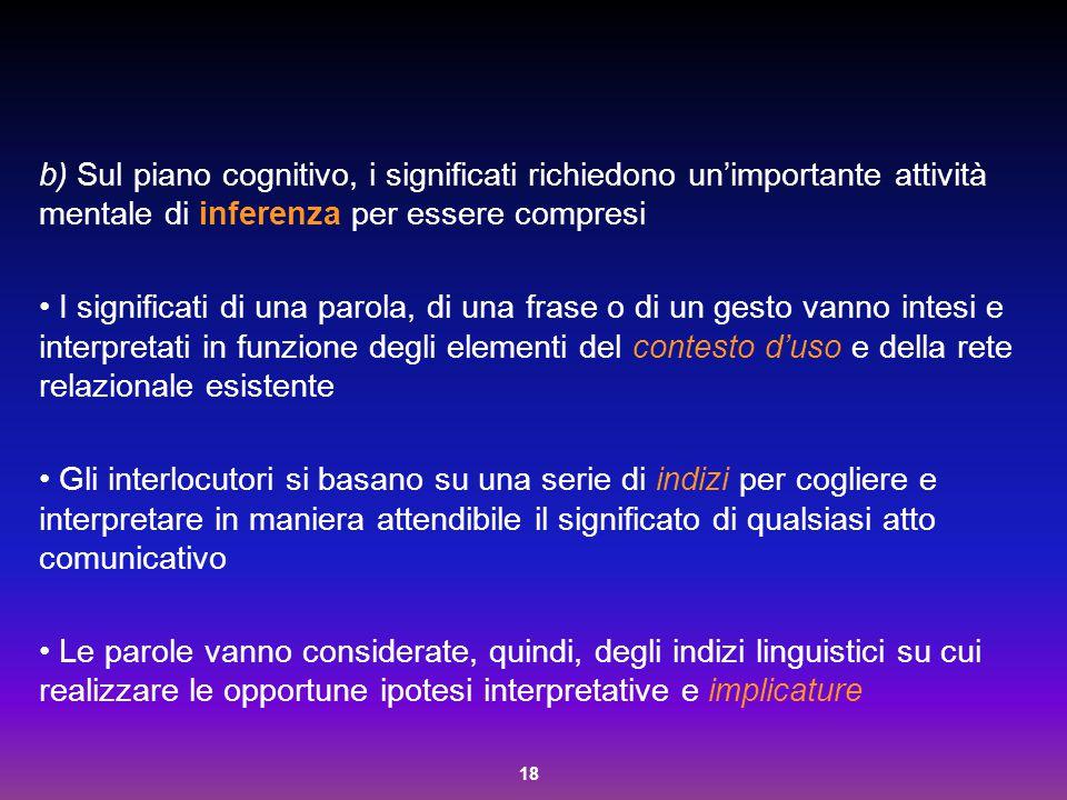 18 b) Sul piano cognitivo, i significati richiedono un'importante attività mentale di inferenza per essere compresi I significati di una parola, di un