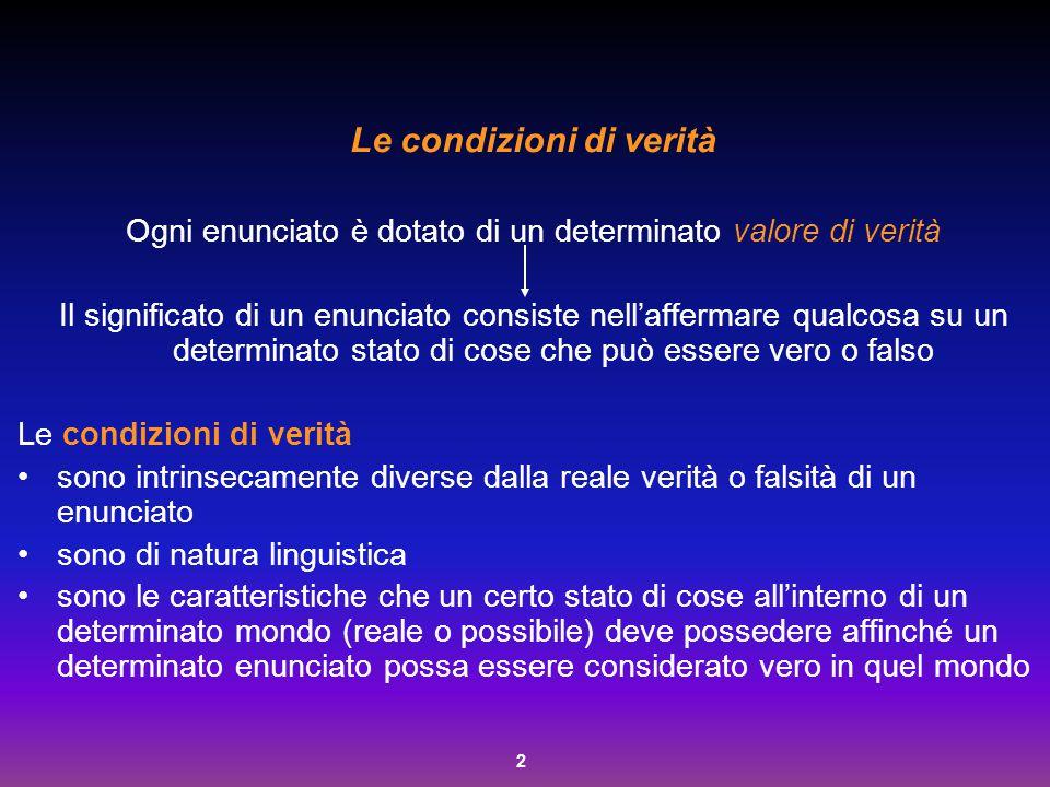 33 Componenzialità e prototipicità del significato La semantica a tratti Due condizioni: a) il significato è scomponibile in tratti semantici considerati come condizioni necessarie e sufficienti (CNS) per la sua formazione b) il numero dei tratti semantici costituisce un inventario limitato