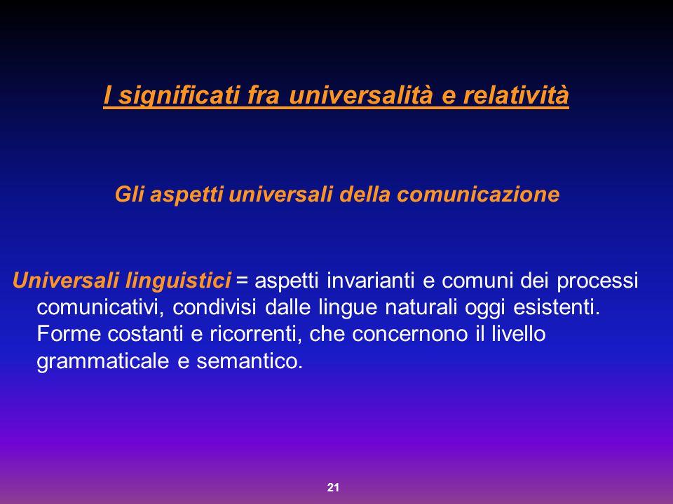 21 I significati fra universalità e relatività Gli aspetti universali della comunicazione Universali linguistici = aspetti invarianti e comuni dei pro