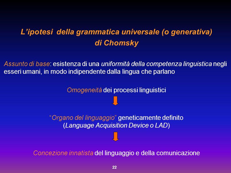 22 L'ipotesi della grammatica universale (o generativa) di Chomsky Assunto di base: esistenza di una uniformità della competenza linguistica negli ess