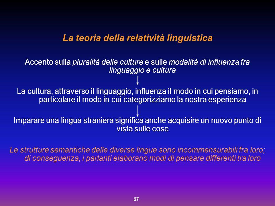 27 La teoria della relatività linguistica Accento sulla pluralità delle culture e sulle modalità di influenza fra linguaggio e cultura La cultura, att