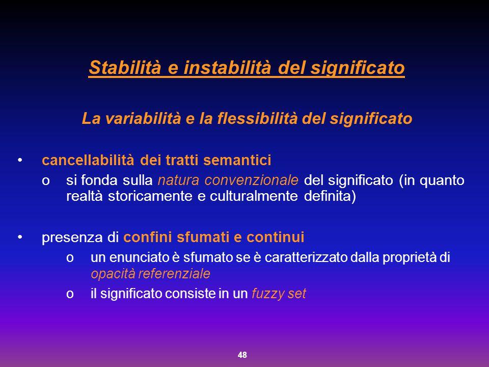 48 Stabilità e instabilità del significato La variabilità e la flessibilità del significato cancellabilità dei tratti semantici osi fonda sulla natura