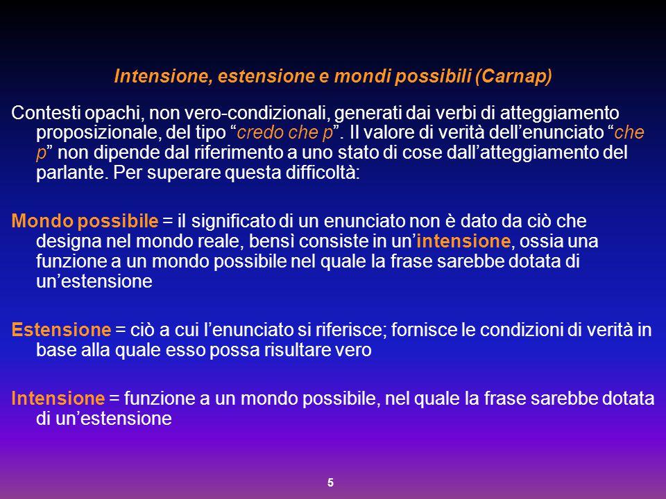 5 Intensione, estensione e mondi possibili (Carnap) Contesti opachi, non vero-condizionali, generati dai verbi di atteggiamento proposizionale, del ti