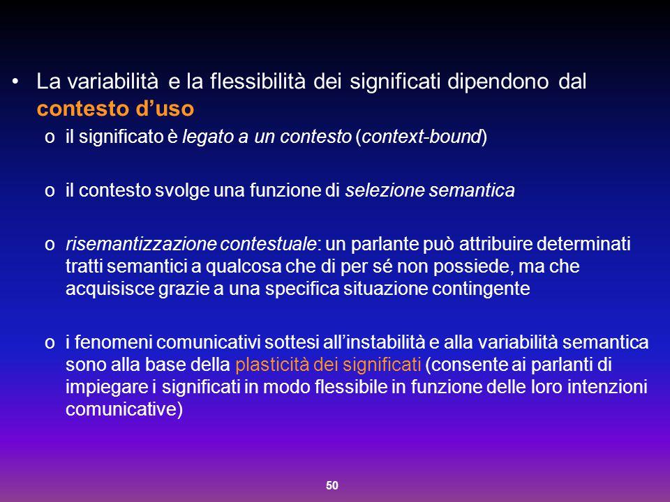 50 La variabilità e la flessibilità dei significati dipendono dal contesto d'uso oil significato è legato a un contesto (context-bound) oil contesto s