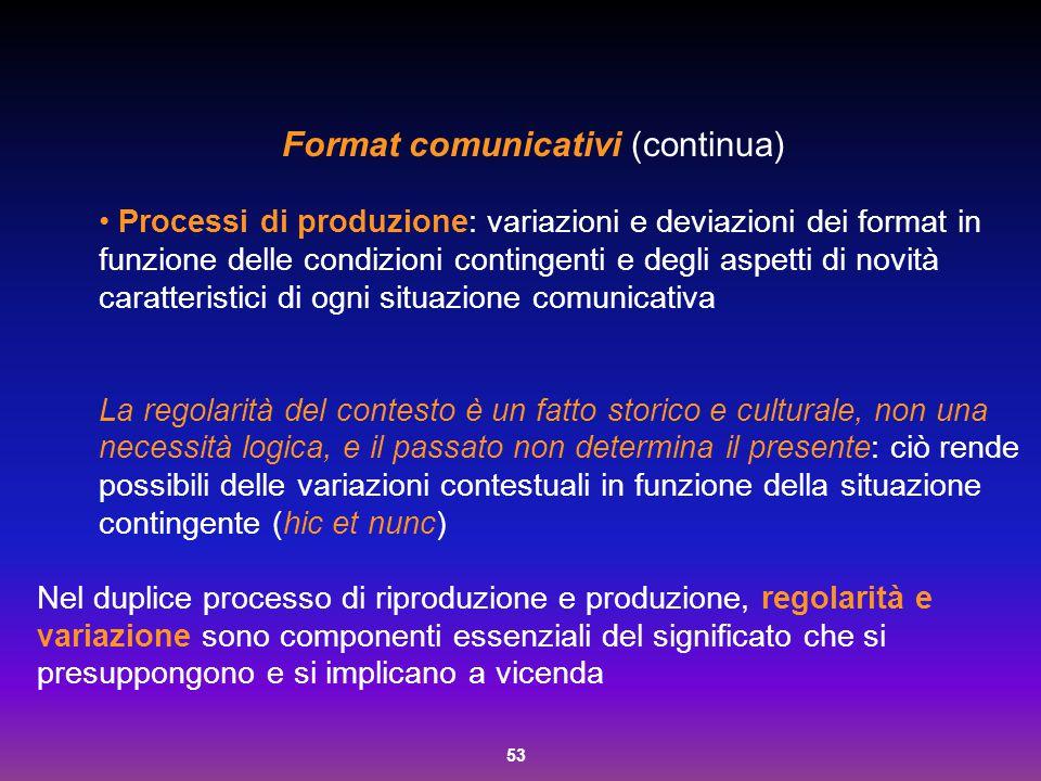 53 Processi di produzione: variazioni e deviazioni dei format in funzione delle condizioni contingenti e degli aspetti di novità caratteristici di ogn