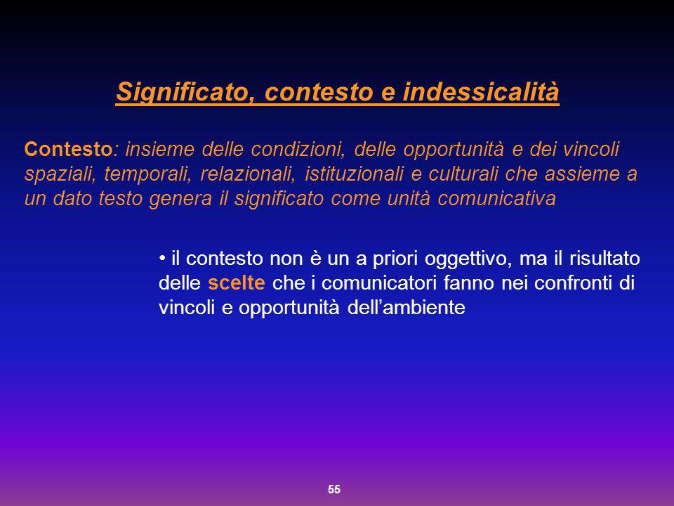 55 Significato, contesto e indessicalità Contesto: insieme delle condizioni, delle opportunità e dei vincoli spaziali, temporali, relazionali, istituz