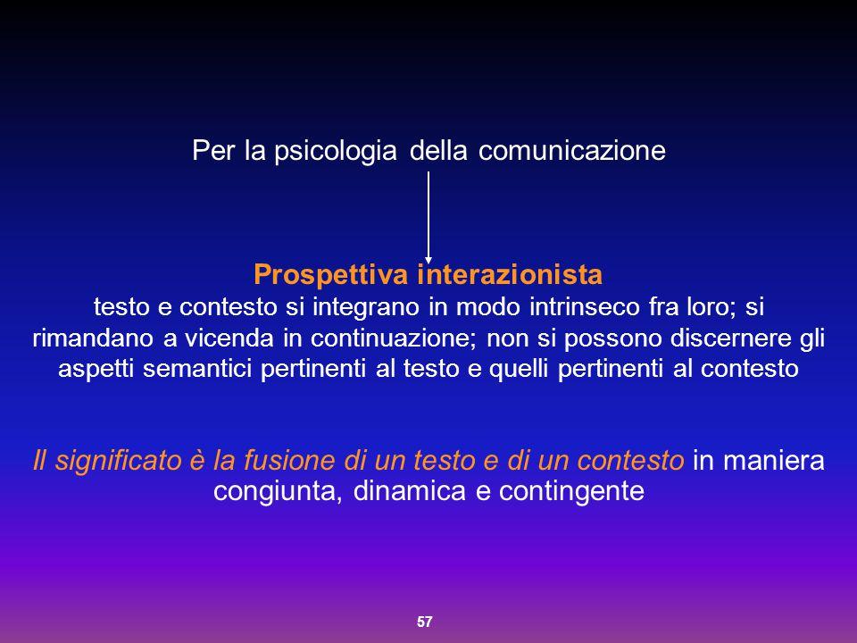 57 Per la psicologia della comunicazione Prospettiva interazionista testo e contesto si integrano in modo intrinseco fra loro; si rimandano a vicenda