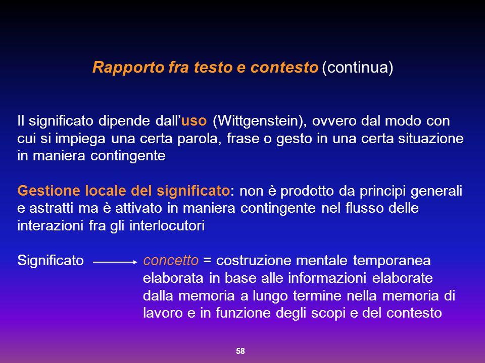 58 Rapporto fra testo e contesto (continua) Il significato dipende dall'uso (Wittgenstein), ovvero dal modo con cui si impiega una certa parola, frase