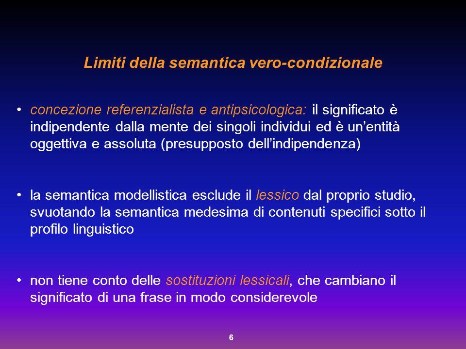 6 Limiti della semantica vero-condizionale concezione referenzialista e antipsicologica: il significato è indipendente dalla mente dei singoli individ