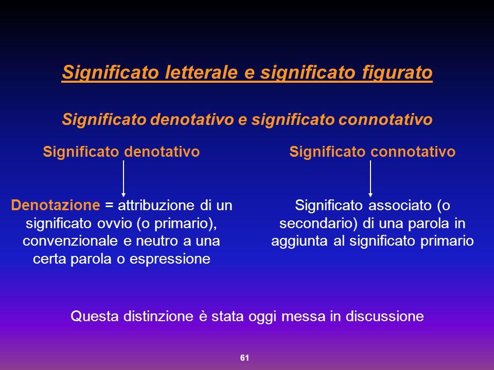61 Significato letterale e significato figurato Significato denotativo e significato connotativo Questa distinzione è stata oggi messa in discussione