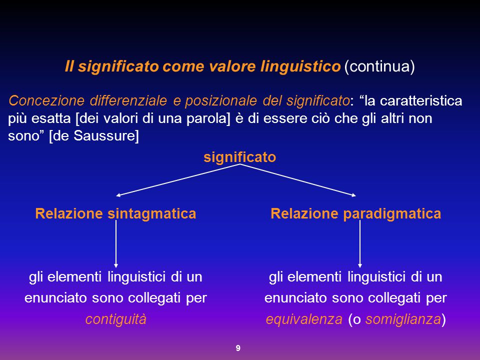 """9 Il significato come valore linguistico (continua) Concezione differenziale e posizionale del significato: """"la caratteristica più esatta [dei valori"""