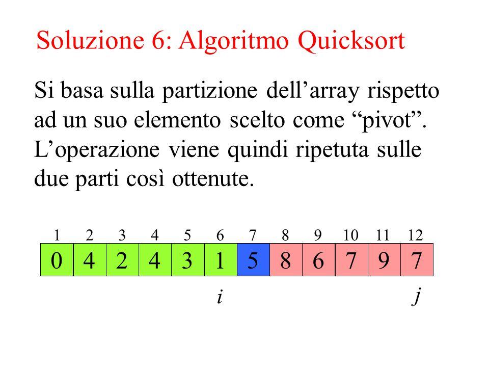 Soluzione 6: Algoritmo Quicksort 56984274371 1 2 3 4 5 6 7 8 9 10 11 12 50 Si basa sulla partizione dell'array rispetto ad un suo elemento scelto come