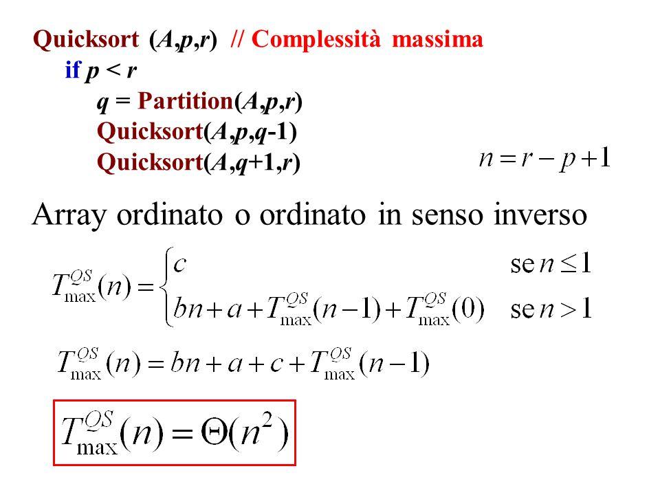 Quicksort (A,p,r) // Complessità massima if p < r q = Partition(A,p,r) Quicksort(A,p,q-1) Quicksort(A,q+1,r) Array ordinato o ordinato in senso invers