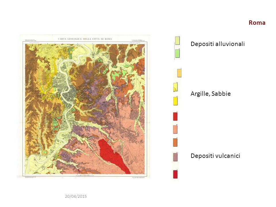 Roma 20/04/2015 Depositi alluvionali Argille, Sabbie Depositi vulcanici